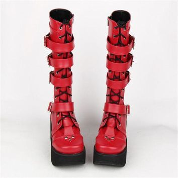 ONETOW Japanese Harajuku Thick Platform Punk Goth Cosplay Boots Women Burgundy Leather Buckle