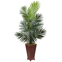 Artificial Tree -4.5 Foot Kentia Palm Tree In Decorative Wood Planter