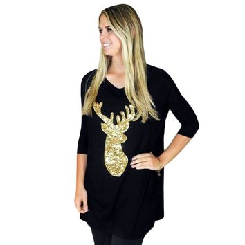 Fashion Women Long Sleeve Christmas Deer Print Reindeer Loose Printed T-Shirt Cotton Stretch Bodycon O-Neck Tees