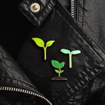 Green Plant Brooch Saplings Leaves Tree Buds Branch Fresh Plant Enamel Pin Shirt Backpack Badge Green Protector And Friend Gifts