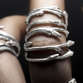 Elvish bands, set of 3 sterling silver twig stacking rings - RedSofa jewelry