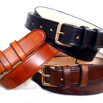 "Men leather belt, brown, black or tan, 1 1/4"", solid brass roller buckle with 2 fixed leather loops, custom leather belt"