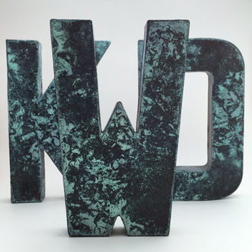 Faux Metal Letters - Aged Bronze - Metal - Antique - Patina - Aged - Vintage - Industrial - Decorative - Rustic - Old - Beautiful - Bronze