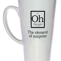 Element of Surprise Mug Fake Periodic Table Chemistry Elements, Latte Size
