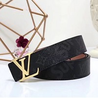 LV x Supreme Woman Fashion Smooth Buckle Belt Leather Belt