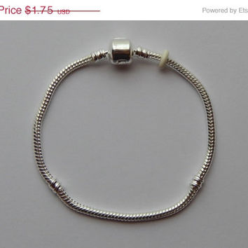 ON SALE CLEARANCE Add a Bead Bracelet - 8 Inch Silver Color Brass, Snake Chain, European Style Metal, Snap Clasp, For Large Hole Beads, 1 Pi