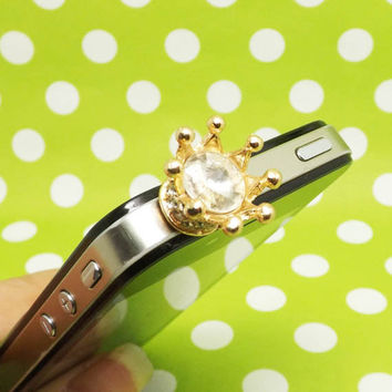 Golden King Queen Crown Crystal Anti Dust Plug 3.5mm Phone Accessories Charm Headphone Jack Earphone Cap for iPhone 4 4S 5 iPad HTC Samsung