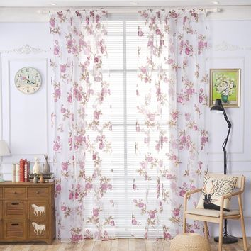 2017 Modern Curtains for Bedroom Sitting Room Rose Floral Tulle Clear Window Screening Drape Valances Curtain Flat Black Yarn