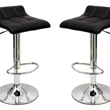 Sleek Varick Barstool with Height Adjustability in Black -Set of 2