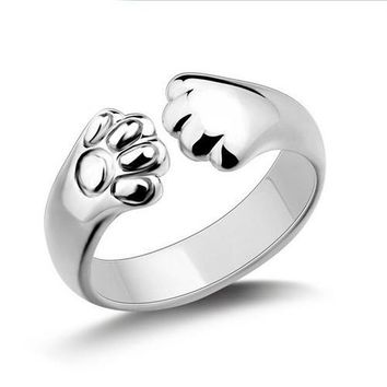 Silver Paw Cat Ring