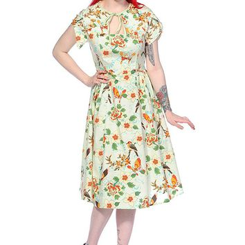 Vintage Style Green Birds and Butterflies Dress | Vintage Style Dresses | Vintage Dresses | Vintage Swing Dresses | Vintage Style Clothing | 50s Style Clothing