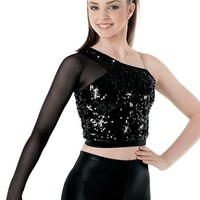 Ultra Sparkle Sequin Mesh-Sleeve Top | Balera™