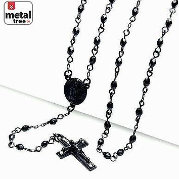 "Jewelry Kay style Men's Fashion 4 mm Bead Guadalupe & Jesus Cross 25"" Rosary Necklace HR 700 BK"