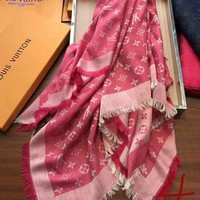 DCCKJ1A GUCCI Stylish Ladies Men Casual Cashmere Logo Print Soft Scarf Scarves Shawl Accessories Pink I-XLL-WJ