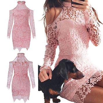 Autumn Fashion Women Lace Dresses Long Sleeve Halter Sexy Strapless Bodycon Bandage Dress Ladies Party Night Mini Dress