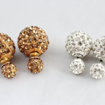 Luminous sparkle golden brown crystal double sided stud earrings