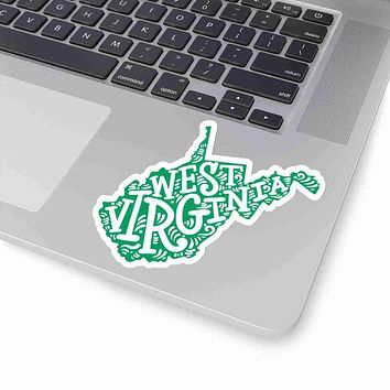 West Virginia State Shape Sticker Decal - Green