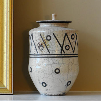 Handmade Pottery, ceramic jar, White crackle raku jar/urn, lidded jar, pet urn, keepsake urn, stash jar