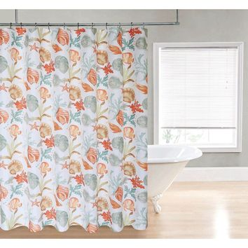 Sea Shells Coral Star Fish Fabric Shower Curtain In Polyester