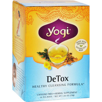 Yogi Detox Herbal Tea Caffeine Free - 16 Tea Bags - Case Of 6