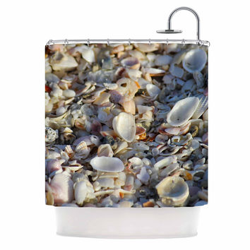"Philip Brown ""Seashells On The Beach"" Coral Nature Shower Curtain"
