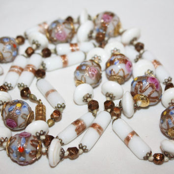 Venetian Art Glass Necklace Murano Milk Glass Pink Wedding Cake Bead 1940s Jewelry