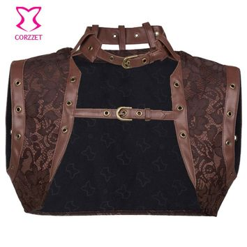 Vintage Brown Floral Pattern Brocade and Leather Steampunk Jacket Women Bolero Gothic Clothing Corsets and Bustiers Accessories
