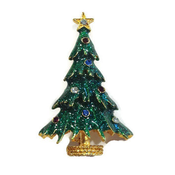 1940s Brooch, Signed Eisenberg Ice Enamel and Rhinestone Christmas Tree Pin, Holiday Brooch, Christmas Jewelry