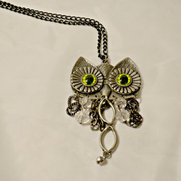 Owl Necklace, Beautiful necklace, owl statement, dangly owl necklace, abstract owl, green eyed owl, bird necklace, pretty necklace