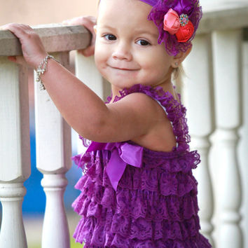 Baby Girl Fancy Vintage Headband & Purple Lace Petti Romper SET-Outfit-Preemie-Newborn-Infant-Child-Toddler-Valentines Day Clothes-Wedding