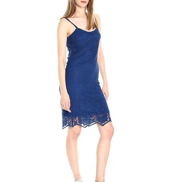 BB Dakota Women's Cassia Scallop Lace Shift Dress, Indigo, Large