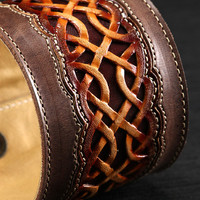 "Leather Cuff:  brown leather cuff with a celtic design ""Celtic Nation Cuff"""