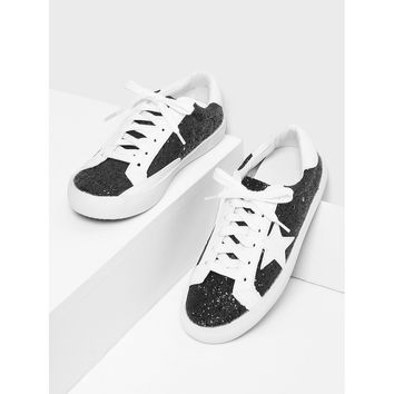 Black Lace Up Round Toe Sneakers