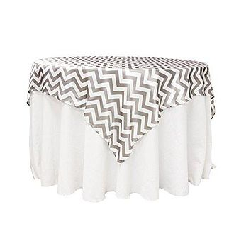 """AK-Trading 72"""" x 72"""" Inches L'Amour Satin Zig Zag Chevron Tablecloth Table Cover - MADE IN USA (Gray)"""