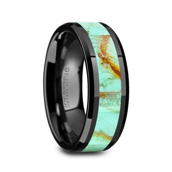 Pale Blue Turquoise Inlay Black Ceramic Wedding Band, Beveled