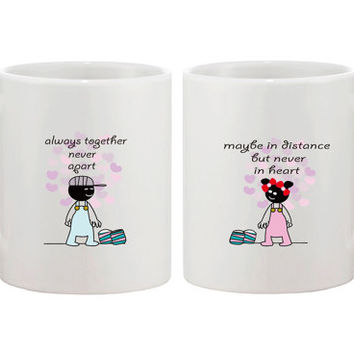 Long Distance Relationship Gifts for Long Distance Couples Always Together Never Apart Couple Mug Set 11oz White