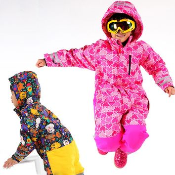 Winter Outdoor Children Thickening Waterproof Breathable Siamese Boys And Girls Kids Ski Jackets Suits Skiing