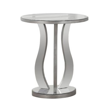 """End Table - 20""""Dia / Brushed Silver / Mirror"""