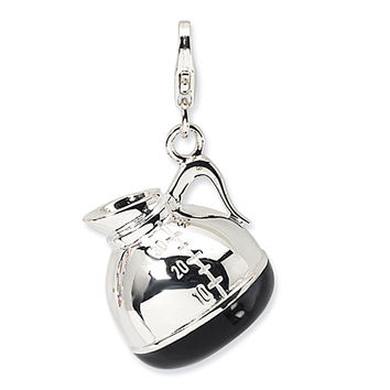 925 Sterling Silver Black Enameled Coffee Pot Dangling Charm