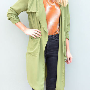 Olive Green Longline Duster Sheer Jacket