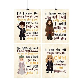 Harry Potter Christian Nursery Decor Set of 4 Prints with Dumbledore, Hagrid and Hermione with Parchment Background