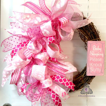 Baby Sleeping Please Knock Softly (Girl) Pink Funky Bow Deco Mesh Grapevine Wreath