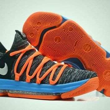 Nike KD 10 Grey Blue Orange For Sale