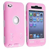 eForCity Hybrid Case for Apple iPod touch 4G, White Hard/Pink Skin Arrow