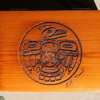 E.A. Hunt Native American PNW Carved Totem Cedar Box