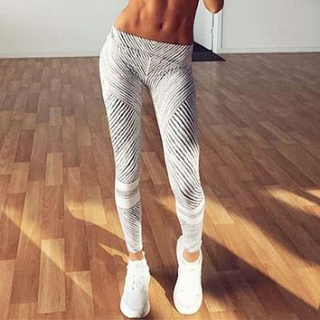 women's striped printing work out Leggings sweat clothing trackpants workout clothes for women fitness leggings HP0123