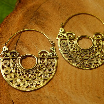 Tribal brass earrings, large hoop earrings, aztec gold hippie gypsy indian yoga ear weights, pair 18g 1mm