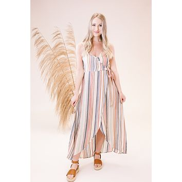 Carnival Wrap Maxi Dress, Stripe Multi