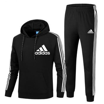 ADIDAS autumn and winter plus velvet sports and leisure running clothes two-piece Black