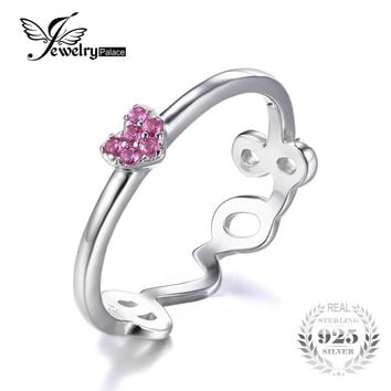 JewelryPalace 925 Sterling Silver Created Pink Sapphire Love Heart Wrap Stackable Ring Unique Love Design for Lover Fine Jewelry
